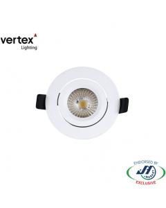 Vertex 8W Gimbal Downlight 5000K 82mm White